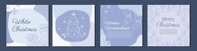 Conjunto de plantilla cuadrada de adornos navideños de invierno con ilustración vectorial de árbol de navidad