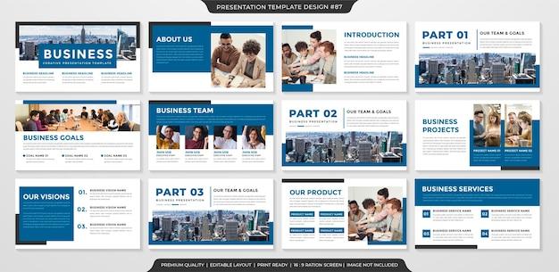 Conjunto de plantilla de diapositiva de powerpoint
