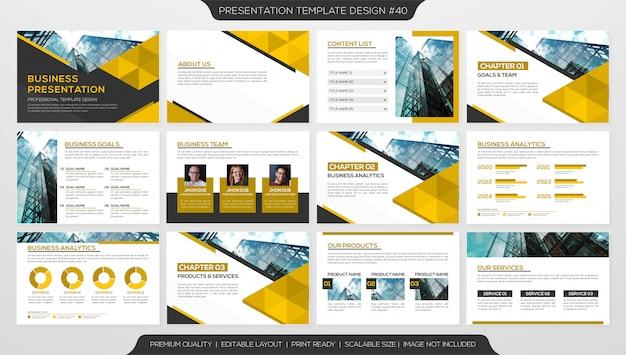 Conjunto de plantilla de diapositiva de presentación