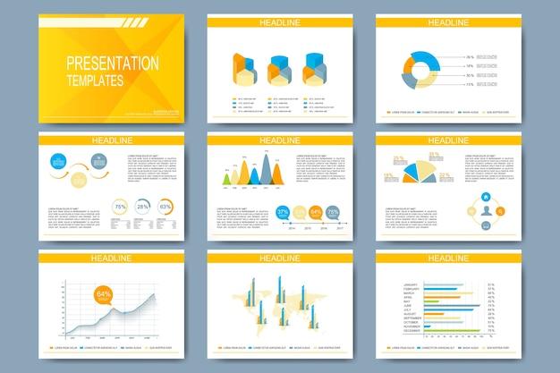 Conjunto de plantilla para diapositivas de presentación.