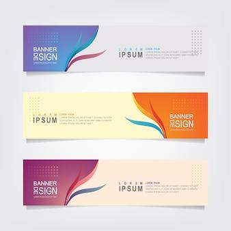 Conjunto de plantilla de diseño de banner floral abstracto