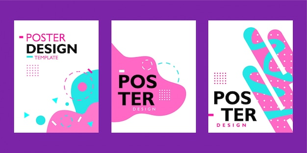 Conjunto de plantilla de diseño de cartel con forma ondulada de colores sobre fondo blanco