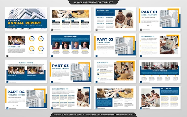 Conjunto de plantilla de diseño de diseño de presentación de negocios