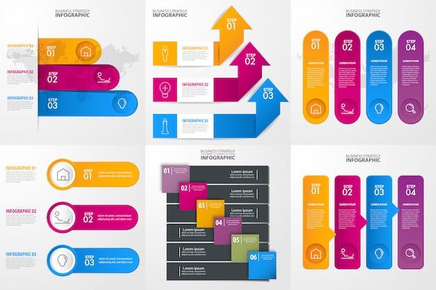 Conjunto de plantilla de diseño de infografías de negocios para la presentación. ilustración grafica