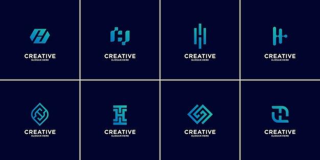 Conjunto de plantilla de diseño de logotipo abstracto letra inicial h, iconos de tecnología para negocios de lujo, degradado