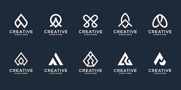 Conjunto de plantilla de diseño de logotipo abstracto letra inicial a. iconos para negocios de lujo