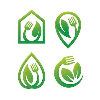 Conjunto de plantilla de diseño de logotipo de alimentos