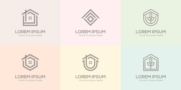 Conjunto de plantilla de diseño de logotipo de casa
