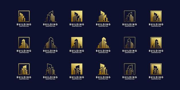 Conjunto de plantilla de diseño de logotipo de construcción de edificios con color de estilo degradado dorado