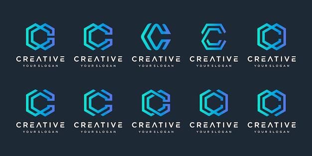 Conjunto de plantilla de diseño de logotipo creativo letra c. s para negocios de lujo, elegante, sencillo.
