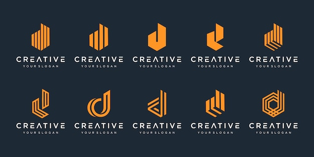 Conjunto de plantilla de diseño de logotipo creativo letra d