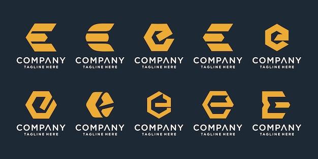 Conjunto de plantilla de diseño de logotipo creativo letra e