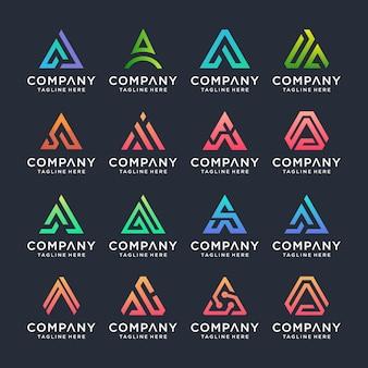 Conjunto de plantilla de diseño de logotipo creativo letra a