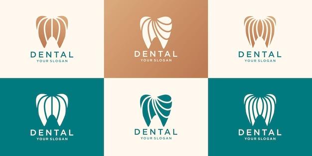 Conjunto de plantilla de diseño de logotipo dental