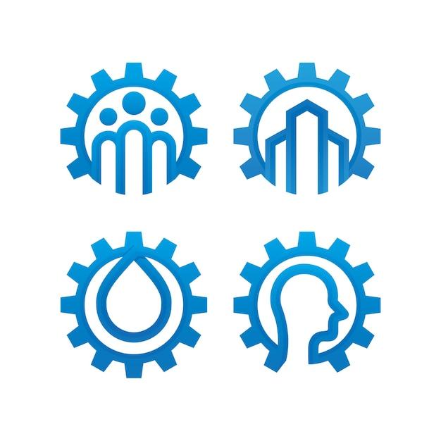 Conjunto de plantilla de diseño de logotipo de engranaje