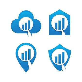 Conjunto de plantilla de diseño de logotipo de estadísticas