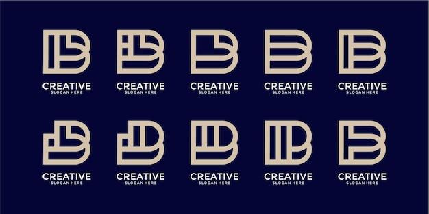 Conjunto de plantilla de diseño de logotipo de letra b monograma creativo