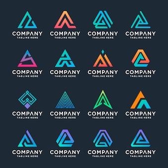 Conjunto de plantilla de diseño de logotipo de letra a creativa.
