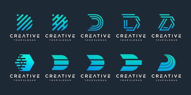 Conjunto de plantilla de diseño de logotipo de letra d inicial abstracto creativo.