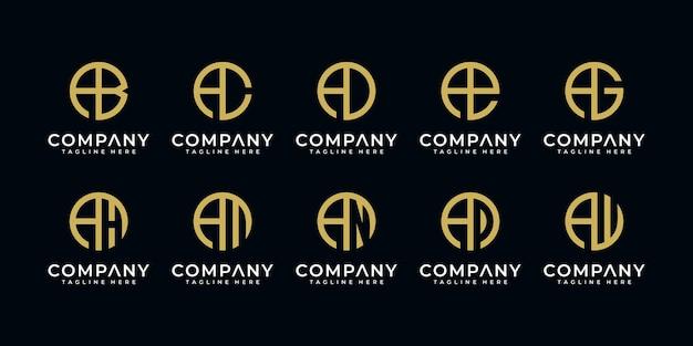 Conjunto de plantilla de diseño de logotipo de letra a de monograma abstracto creativo