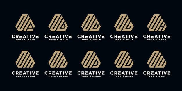 Conjunto de plantilla de diseño de logotipo de letra n monograma abstracto creativo