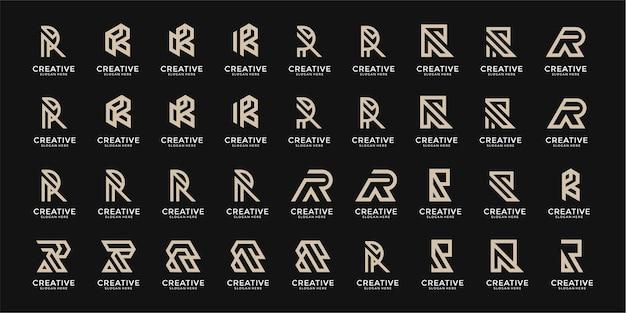 Conjunto de plantilla de diseño de logotipo de letra r de monograma creativo