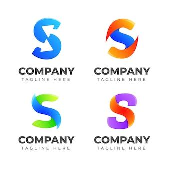 Conjunto de plantilla de diseño de logotipo letra s con concepto colorido. para negocios de deporte, automoción, moda, elegante