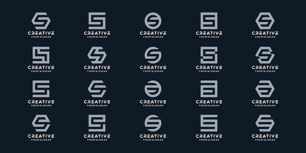 Conjunto de plantilla de diseño de logotipo de letra s monograma creativo