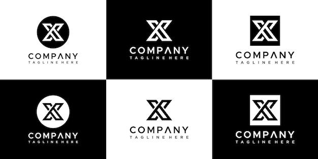 Conjunto de plantilla de diseño de logotipo letra x