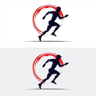Conjunto de plantilla de diseño de logotipo de maratón de atletismo corriendo sprint