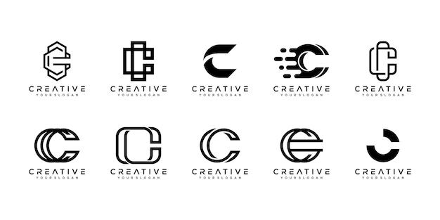 Conjunto de plantilla de diseño de logotipo monograma letra c creativa.
