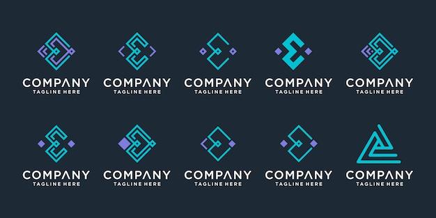 Conjunto de plantilla de diseño de logotipo monograma letra e creativa.