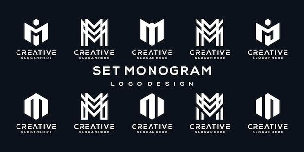 Conjunto de plantilla de diseño de logotipo monograma letra m creativa.
