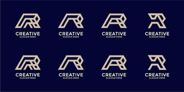 Conjunto de plantilla de diseño de logotipo de monograma letra r