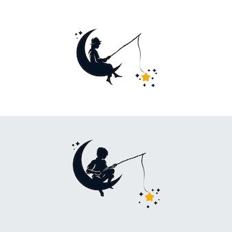 Conjunto de plantilla de diseño de logotipo de niño pescando en la luna