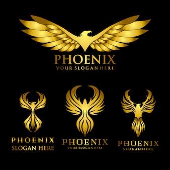 Conjunto de plantilla de diseño de logotipo de phoenix águila dorada