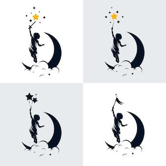 Conjunto de plantilla de diseño de logotipo de sueño de niños