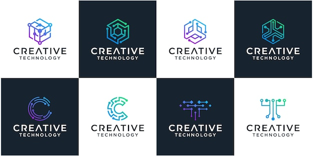 Conjunto de plantilla de diseño de logotipo de tecnología de red
