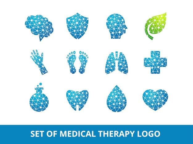 Conjunto de plantilla de diseño de logotipo de terapia médica