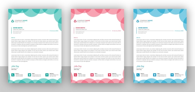 Conjunto de plantilla de diseño de membrete colorido de negocios creativos