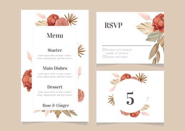 Conjunto de plantilla de diseño de menú de boda