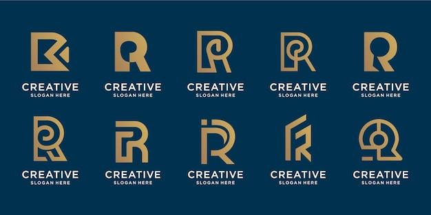 Conjunto de plantilla de diseño de oro letra r monograma creativo. iconos para negocios de lujo, elegantes y sencillos.