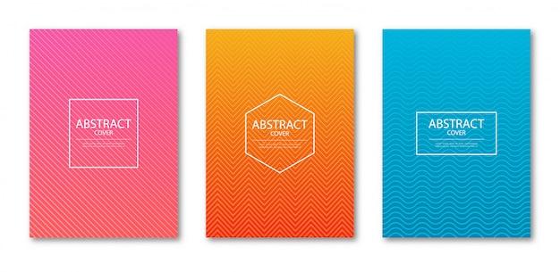 Conjunto de plantilla de diseño de portada con líneas abstractas degradado de color moderno