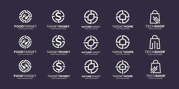 Conjunto de plantilla de diseños de logotipo de destino.