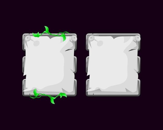 Conjunto de plantilla emergente de tablero de interfaz de usuario de juego de papel de naturaleza de piedra redondeada para elementos de activos de interfaz gráfica de usuario