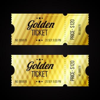 Conjunto de plantilla de entradas retro de oro y cartón