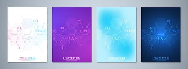 Conjunto de plantilla de folleto o portada, libro, volante con antecedentes de química abstracta y fórmulas químicas. concepto e idea de ciencia e innovación tecnológica.