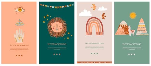 Conjunto de plantilla de fondo vertical para redes sociales y aplicaciones móviles con lindos elementos boho para niños, garabatos decorativos y animales.