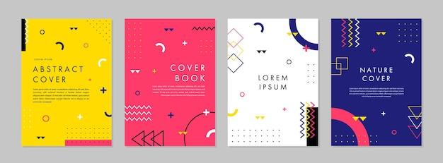 Conjunto de plantilla geométrica creativa abstracta para diseño de portada