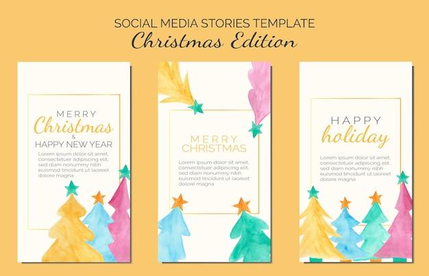Conjunto de plantilla de historias de redes sociales navideñas